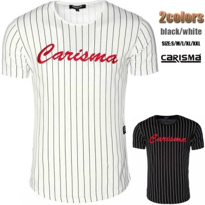 Tシャツ メンズ ストライプ 白/黒 極太刺繍 ドイツブランド S~XX(3L)大きいサイズも入荷 父の日 プレゼント