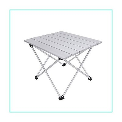 Grope Small Folding Camping Table with Aluminum Table Top Ultralight Outdoor 15.5 inches x 13.8 inches Collapsible Roll Up Folding Beach Cam