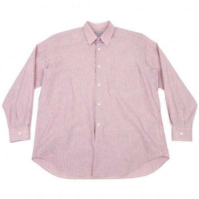 コムデギャルソンオムCOMME des GARCONS HOMME ストライプ長袖コットンシャツ ピンクグレーM位 【メンズ】