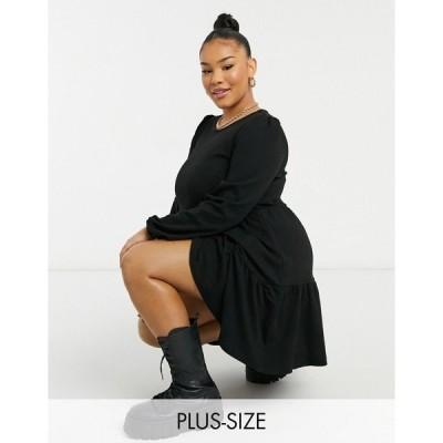 ニュールック レディース ワンピース トップス New Look Curve ribbed peplum dress in black Black