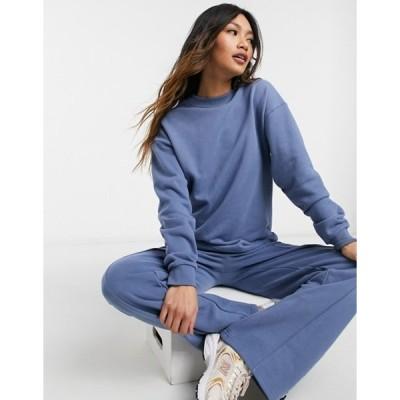 エイソス レディース パーカー・スウェット アウター ASOS DESIGN tracksuit premium ribbed loopback sweatshirt / straight leg sweatpants in blue
