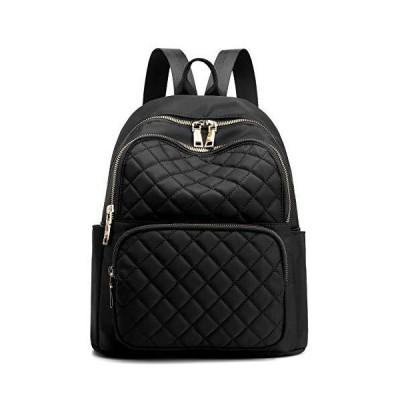 Backpack for Women, Nylon Travel Backpack Purse Black Small School Bag for Girls (Black Quilted)【並行輸入品】