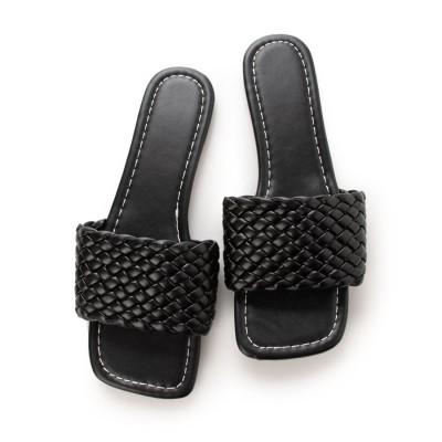 スタイルブロック STYLEBLOCK 編み込みデザインフラットサンダル (ブラック)