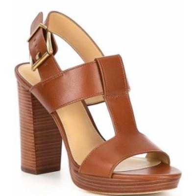 マイケルコース レディース サンダル シューズ MICHAEL Michael Kors Becker Leather T-Strap Dress Sandals Luggage