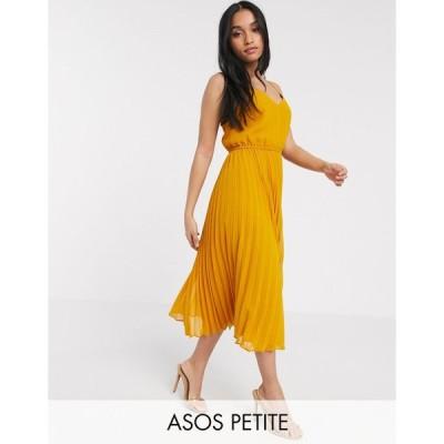 エイソス ミディドレス レディース ASOS DESIGN Petite pleated cami midi dress with drawstring waist in mustard エイソス ASOS