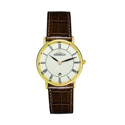 Michel Herbelin Womens Gold Plated Classic Leather Strap 16845/P08GO 並行輸入品