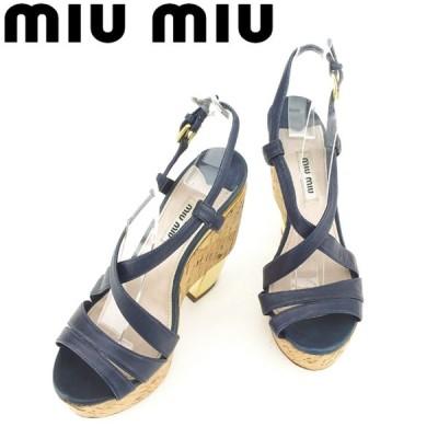 ミュウミュウ サンダル シューズ 靴 ♯36ハーフ ウェッジソール クロスデザイン miu miu 中古