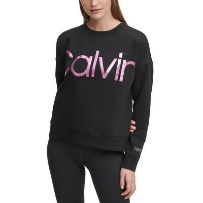 カルバンクライン カットソー トップス レディース Logo Drop-Shoulder Sweatshirt Black Pink