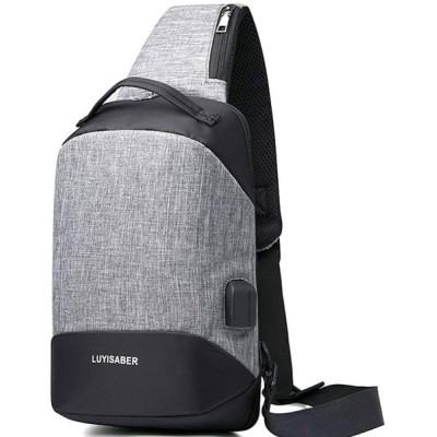 ボディバッグ ワンショルダー 斜めがけ メンズ 肩がけバッグ 9.7インチタブレット収納可能 usbポート男女兼用 通学 旅行(灰)