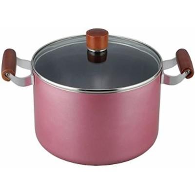 両手鍋 シチューポット 煮込み料理 フューシャ 22cm ガラス蓋付 ふっ素樹脂加工 IH対応 FR-7504 和平フレイズ