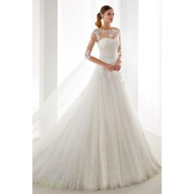 ウエディングドレス エンパイア 安い 二次会 ウェディングドレス 結婚式 白 披露宴 トレーン ブライダル ロングドレス レトロドレス 中袖 二次会 花嫁 披露宴