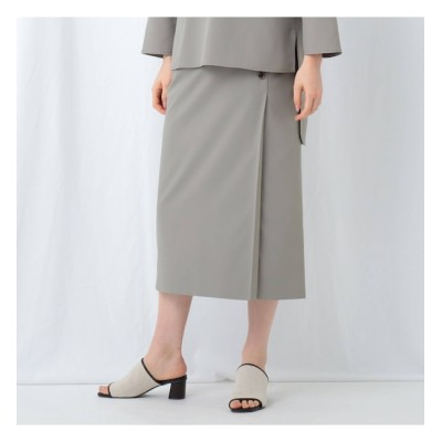 【インディヴィ/INDIVI】 「S」【WEB限定】スパンライク ラップ風スカート
