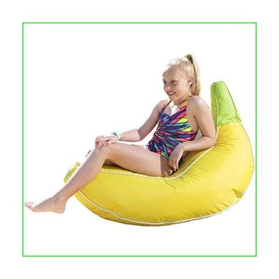 Rickety Rock Kids Bean Bag Chair - Stuffed Animal Storage, Bean Bag Cover for Child Indoor Outdoor Waterproof Polyester, Banana【並行輸