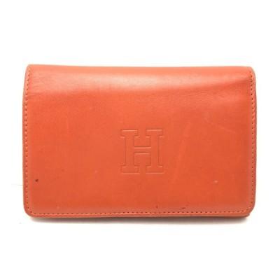 送料無料 ヒロフ HIROFU 財布 二つ折り ロゴ レザー 伊製 イタリア製 オレンジ系 レディース メンズ