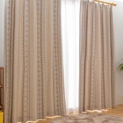 日本製 厚地カーテン 幅100~200 丈90~230 セミオーダー ウールライク ネイティブ柄  形状記憶 遮光 おしゃれ ウォッシャブル(代引不可)