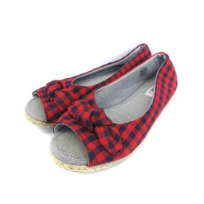 【中古】ニコアンド シューズ フラット オープントゥ ぺたんこ靴 ギンガムチェック柄 リボン 23.0 レッド 赤 ネイビー 紺 /YM2 レディース 【ベクトル 古着】
