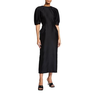 ガブリエラ ハースト レディース ワンピース トップス Coretta Curved-Shoulder Wool-Silk Midi Dress