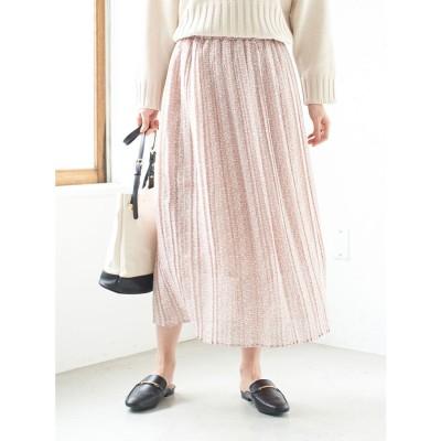 グリーンパークス Green Parks 小花柄シフォンプリーツスカート (Pink)
