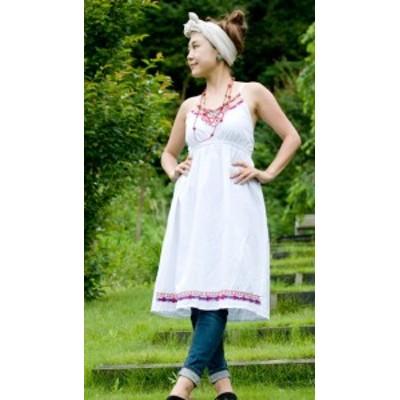 カラフル刺繍のキャミクルティ / チュニック コットン シャツ 女性用 トップス レディース エスニックファッション 袖なし エスニック衣