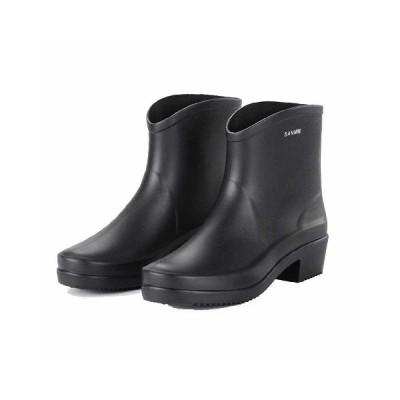 レディース ショートレインブーツ 雨靴 女性 無地 防水 アウトドア オシャレ  台風 通勤 通学 23cm-25.5cm 多色