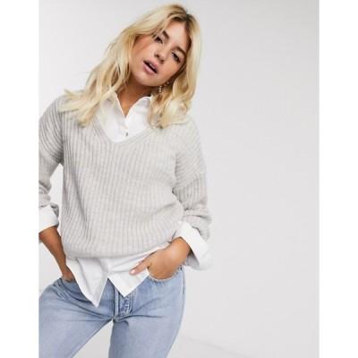 ニュールック レディース ニット・セーター アウター New Look v neck crop sweater in gray