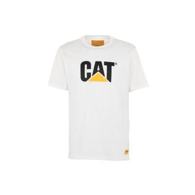 CATERPILLAR T シャツ ホワイト L コットン 100% T シャツ