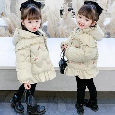 キッズダウンコート2020女の子冬アウター中綿コート赤ちゃんベビージャケット無地子供服ベビー服韓国風防寒軽量