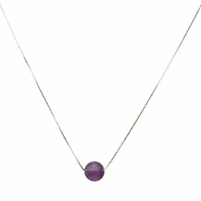 """Round 12mm Amethyst Stone Station Sterling Silver Box Chain Necklace Adjustable 16""""+2"""" Extender"""