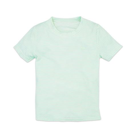 麗嬰房 幼童冰牛奶條紋短袖上衣-淺綠色 (2號/3號/4號/6號/8號/10號)