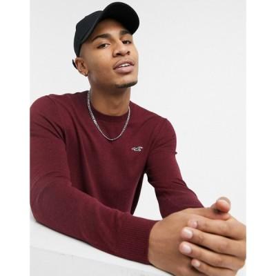 ホリスター Hollister メンズ ニット・セーター トップス icon logo knit jumper in burgundy marl