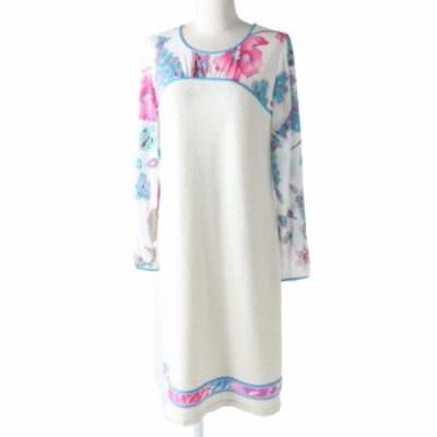 極美品◎正規品 日本製 レオナール ファッション レディース シアー生地 切り替え 長袖 ワンピース ホワイト系 花柄 サイズ42