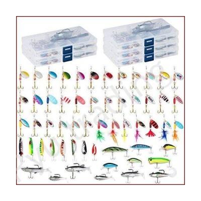 新品Dr.Fish ルアー詰め合わせボックス5個、60個のバス釣り疑似餌、スピナー、ルースターテール、トラウ