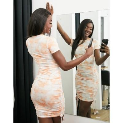 ファッションキラ レディース ワンピース トップス Fashionkilla mini dress with ruched side detail in orange tie dye Orange