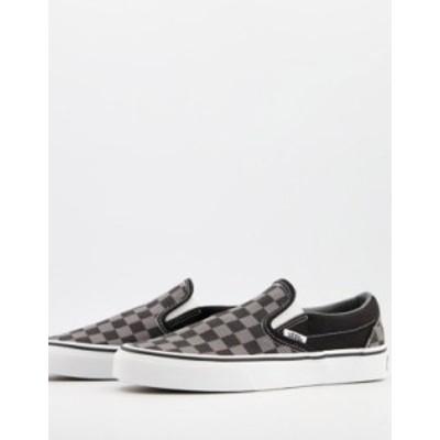 バンズ レディース スニーカー シューズ Vans UA Classic Slip on checkerboard sneakers in black Black