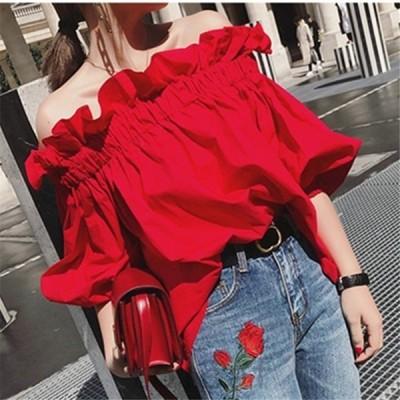 トップスレディースブラウスシャツ半袖オフショルダーバルーンフェミニン可愛いレッド春夏