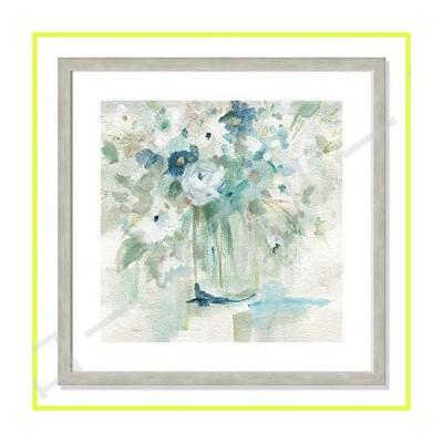Casa Fine Arts Blooming Whispers パステルブルー トランジショナル フローラル アーカイバル 水彩プリント 22.5