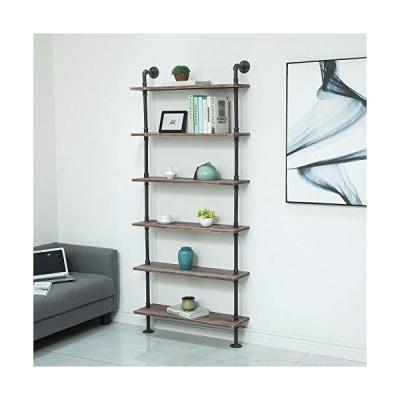 WGX Design For You Industrial Pipe Shelves Rustic Wood Ladder Bookshelf Wal