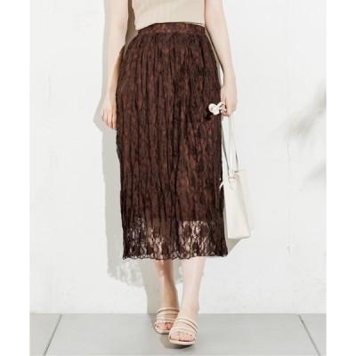 スカート 【WEB限定】レースクリンクルIラインスカート
