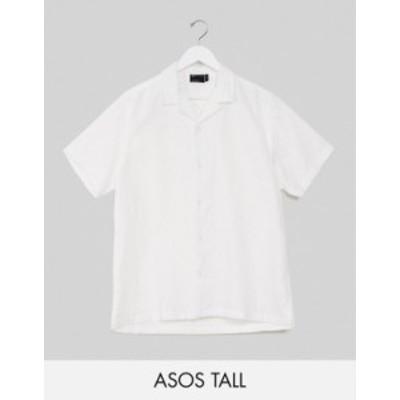 エイソス メンズ シャツ トップス ASOS DESIGN Tall relaxed fit linen shirt with revere collar in white White