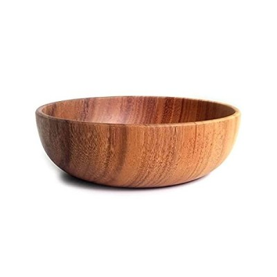 Acacia 木製サラダサービングボウル 無垢材 手彫りボウル フルーツボウル 9.5インチ好評販売中