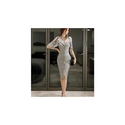 オープンショルダータイトドレス(グレー)膝丈 セクシーワンピース ナイトドレス パーティードレス