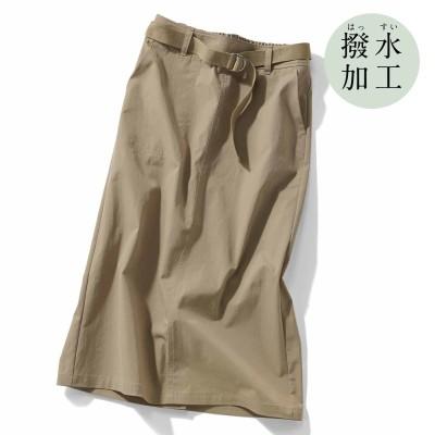 撥水素材がうれしい シルエットきれいなロングスカート〈ベージュ〉 IEDIT[イディット] フェリシモ FELISSIMO