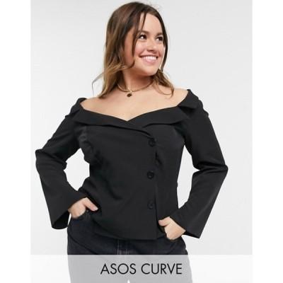 エイソス レディース シャツ トップス ASOS DESIGN Curve long sleeve off shoulder tux top in black