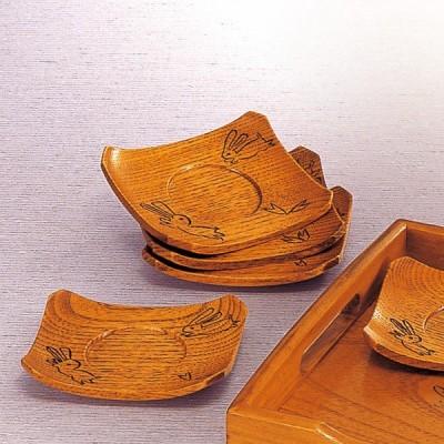 木製 茶托 兎彫り 単品
