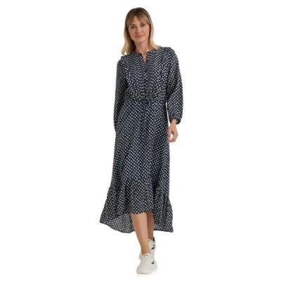 ラッキーブランド レディース ワンピース トップス Long Sleeve Button-Up Tie Waist Ruffle Dawn Maxi Dress