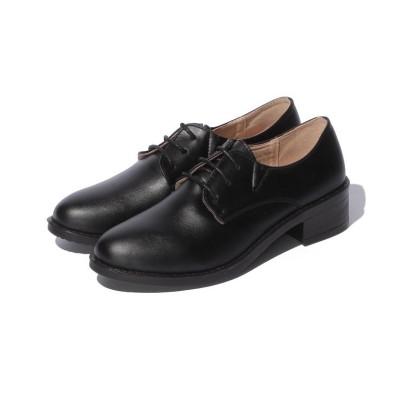 【シュークロ】 シンプルレースアップローファー レディース ブラック L Shoes in Closet