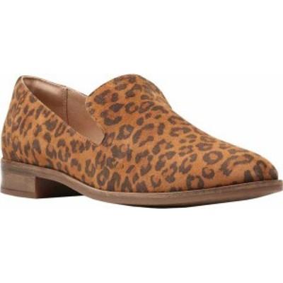 クラークス レディース スリッポン・ローファー シューズ Trish Style Smoking Loafer Dark Brown Leopard Print Suede