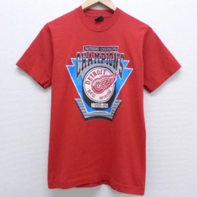 古着 半袖 ビンテージ Tシャツ 80年代 80s NHL デトロイトレッドウィングス クルーネック USA製 赤 レッド アイスホッケー Sサイズ 中古
