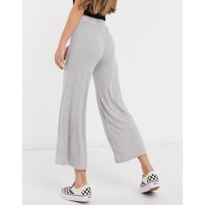 コットン オン レディース カジュアルパンツ ボトムス Cotton:On ribbed culotte in gray Gray marle
