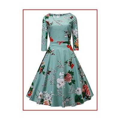 【新品】Women's Dress 3/4 Sleeve Calf-Length Retro Floral Vintage Dress Audrey Hepburn Style Light Blue【並行輸入品】